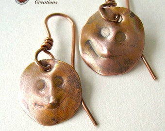Smiling Faces, Antique Copper Earrings, Rustic Primitive Textured Earrings, Solid Copper Jewelry, Whimsical People Smiley Face Dangles E137A