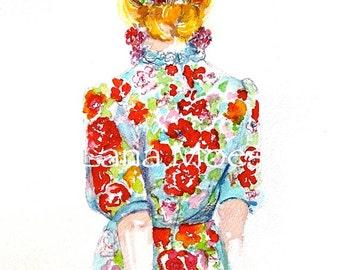 Fashion Watercolor Print from Fashion Illustration by Lana Moes, French Fashion Poster, Fashion Art, Colorful home Decor, Boho Art