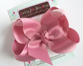 """Mauve Bow, Mauve Hairbow -- choose 3"""" 4"""" 5"""" or 6"""" bow -- AMAZING quality handmade in Tennessee -- perfect match for Matilda Jane"""