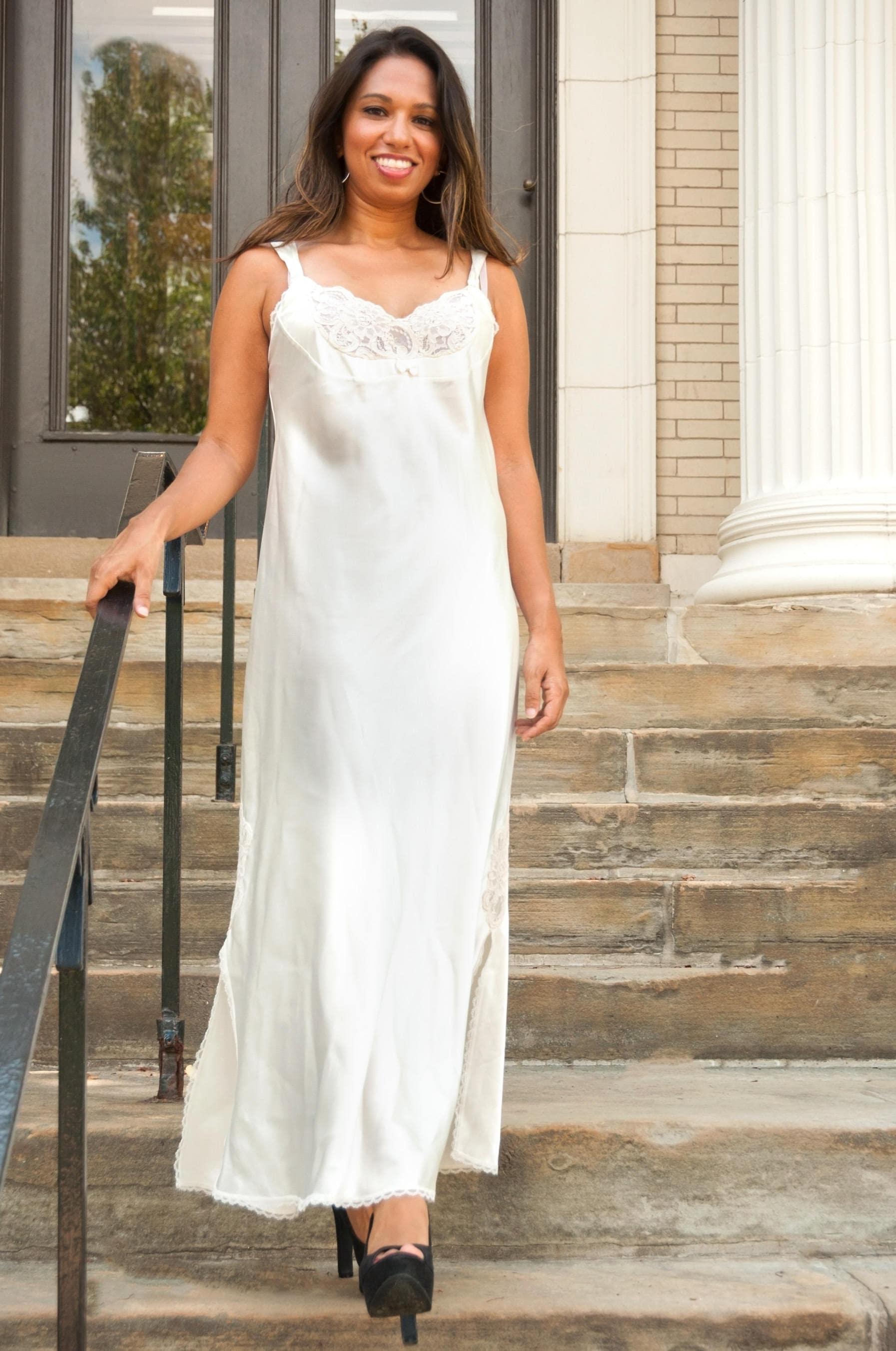 Weiße Dessous Boho Braut Kleid Strand Brautkleid lange
