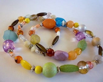 Frosted Glass Bead Flapper Necklace, Glass Lucite Bead Jewelry