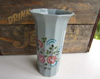 Vintage Albert E Price Japan Oriental Grey Vase with Blue and Mauve Flowers