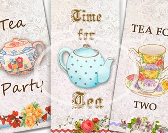 Tea Party Tags, Tea Pot, Instant Download, Printable gift tags, Digital Tags, Tea party favor, craft supplies, Digital Collage, Tea for two