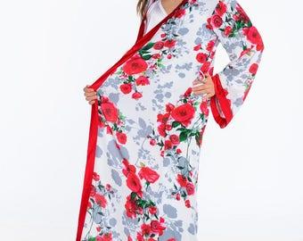 kimono robe long, gift for her, kimono robe, wedding robe, full length, floral robes, bridal shower, robes, honeymoon robe, silk robe bride