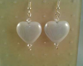 Sale, Beaded Dangle Earrings; crystal glass bi-cones; White acrylic hearts; fish hook ear wires