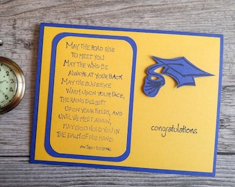 """College Graduation Card with Irish Blessing """"May the Road Rise"""", Blue and Yellow, High School Graduation, Congratulation for Graduate"""