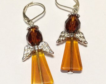 Amber Angel Fairy Earrings - Christmas Gift - Czech Glass Beads Silver Plated Wings