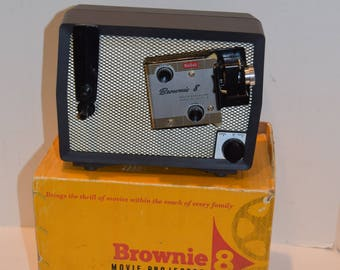 Vintage 1950s Kodak Brownie 8 Movie Projector - Works w/Box