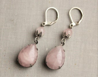 Rose Quartz Earrings. Gemstone Earrings. Pink Dangle Earrings