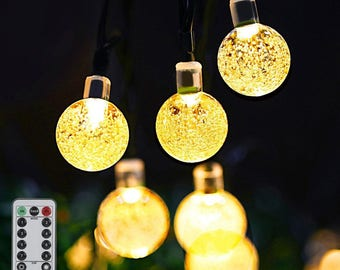 Globe String Lights, 20ft String Lights 30 LED Battery Operated with Remote for Bedroom, Famirosa Crystal Ball Patio in Warm White