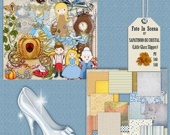 Digital kit LITTLE GLASS SLIPPER, princess, prince, god-mother fairy, Cinderella, fairy tale