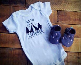 Little Explorer, Camping, Outdoors, Trees, Grey, Teepee, Moccasins, onesie set, baby crib shoes, soft sole