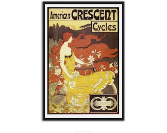 Art nouveau print - Crescent Cycle Ad - Vintage Bicycle Poster Print - by Frederick Ramsdell,P014