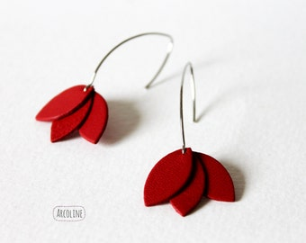 Leather red petals earrings