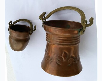 Vintage copper bucket set Miniature copper basket pot Dollhouse kitchen Small copper buckets Country Farmhouse Rustic kitchen decor