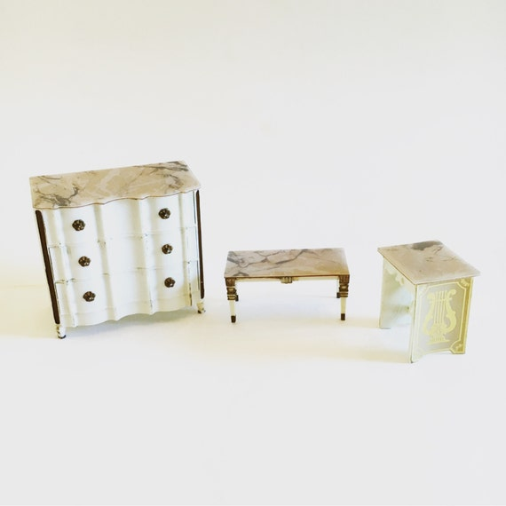 Vintage Dollhouse Miniature Mid Century Faux Marble Bureau Coffee Table and Side Table Ideal Japan