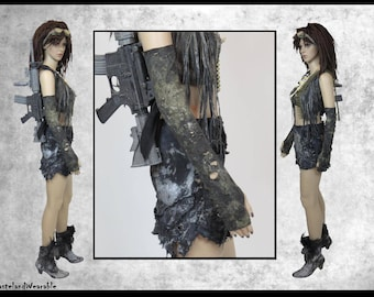 Mad MAx Gloves Post APOCALYPTIC GLOVES BLACK Long Gloves Fallout Gloves Black Fingerless Apocalyptic Gloves