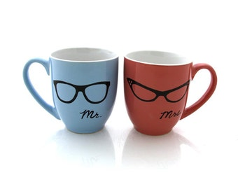 Mr. and Mrs. Mugs, his and hers set,  with nerdy glasses,  great gift for couple, can be personalized