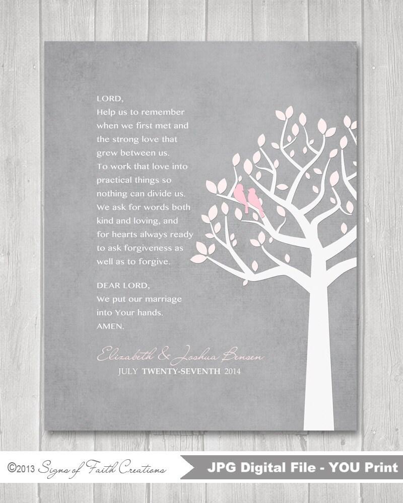 Wedding Prayers: Personalized Wedding Prayer Family Tree With Love Birds