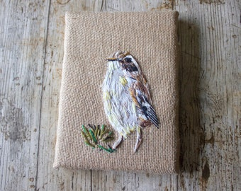 bird art canvas,   embroidery textile art, bird watching gift, textile art gift, nature wall art, gift for dad, gift for nature lover