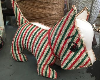 This Vintage Striped Crimped OilCloth Vinyl Dog Is Looking For A New Owner