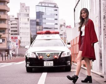 Women's Long Dark Red Kimono Cardigan, Japan Oversized Noragi Jacket, 4 Pockets Coat, Textured Anti Wrinkle Fabric, One Size Haori Yukata