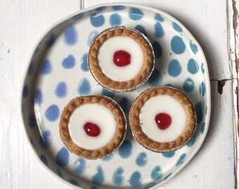 OOAK porcelain plate, ombre spots