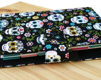 Sugar skulls on black delicate floral Mini Happy planner cover dias morte pattern optional mini happy planner