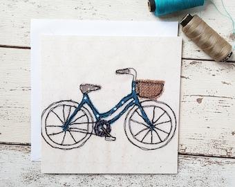 Vintage Polka Dot Bike Greetings Card Blank Inside
