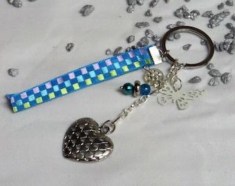Key heart silver satin ribbon