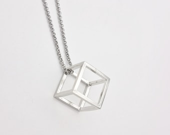 Silver Cube Minimalist Necklace with stainless steel chain and silver brass cube pendant 3D hypoallergenic