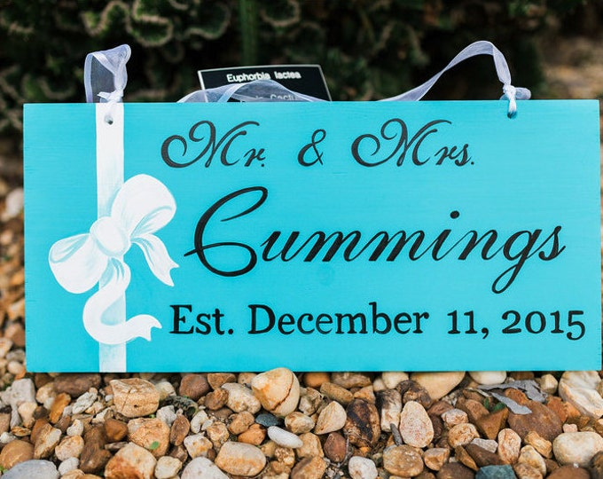 Turquose Establish Family Mr and Mrs Sign, Nautical Wedding Decor, Gift For Couple