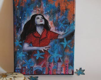 Dancing with the flowers /// gypsy boho portrait /// red dress and blue flowers ready to hand portrait on canvas