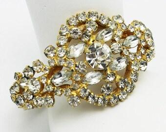 Juliana Bracelet Clear Rhinestone Clamper Style