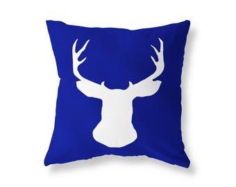 Blue Cushion cover, Deer Stag Head Throw Pillow, Cotton Twill, 40cm (16'') x 40cm (16''), Hidden Zip