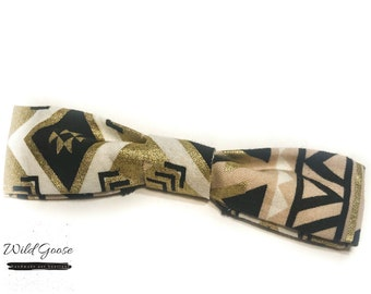 Gold Tribal Bow Tie - Dog Tie - Bow Tie - Gift for Dog Moms - Dog Mom - Aztec Dog Tie - Bow Tie for Dogs - Cute Gift Idea - Slide On Bow Tie