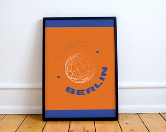 Visit Berlin Print! Graphic Art, Vacation, Tourism, Design, Globe, Sphere, Map, Cartography