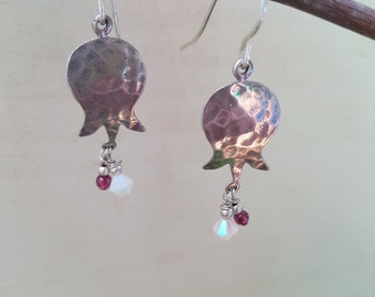 Hammered Pomegranate- SSHP1 - Sterling Silver Hammered Pomegranate Earrings with Garnet and Swarovski Crystal Droplet