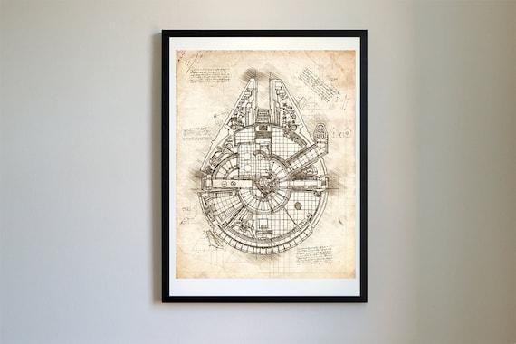 Star wars millennium falcon sketch da vinci vector blueprint malvernweather Gallery