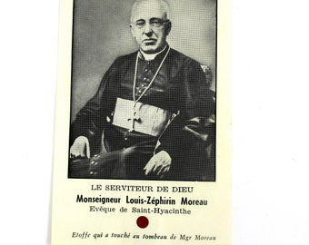 Vintage Blessed Monseigneur Louis-Zéphirin Moreau Holy Relic Card,Vintage 1940s Relic Card of Bishop Moreau of Saint-Hyacinthe