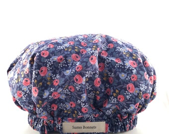 Midnight Blur and Pink Floral Print Luxury Satin Lined Sleep Bonnet