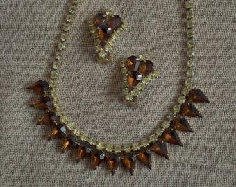 Vintage Brown Rhinestone Necklace & Earring Set