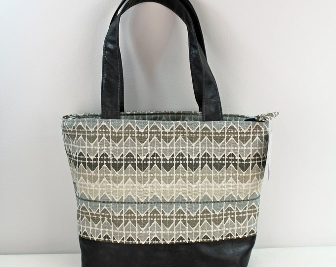 Lulu Large Tote Diaper Bag Quartz and PU Gray Leather with Zipper Closure- REady to SHIp
