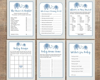Blue Elephant Baby Shower Games Package, Six Printable Baby Shower Games Bundle, Blue Elephant Grey Chevron, Baby Boy,  INSTANT DOWNLOAD