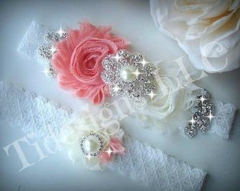 SALE / Wedding Garter Set, Ivory Stretch Lace Garter, Rhinestone garter, Peach Garter Set