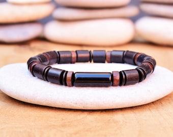 natural wood bead men wood bracelet men mala bracelet for men wooden bracelet wood bead bracelet yoga prayer beads stretch bracelet beaded