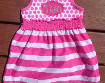 Second Birthday Dress - pink and white
