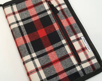 Standard knitting needle case for circulars, interchangeable tips, and short dpns in Red and Black Wool Plaid