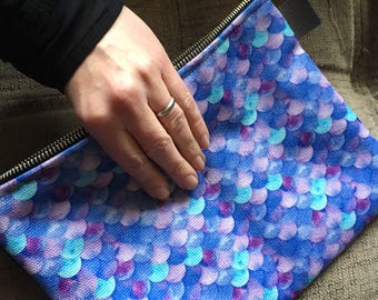 Purple Mermaid Scales Zippered Carry-All Pouch