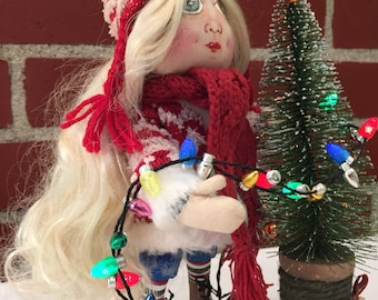CHRISTMAS ART DOLL Cloth Doll Handmade Doll